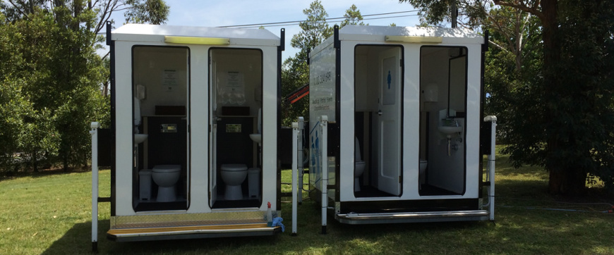 Two Dual Deluxe Toilets set up for a Wedding in Casula