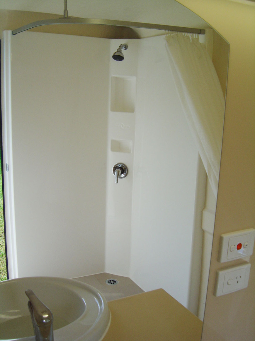 Shower area of the bathroom.