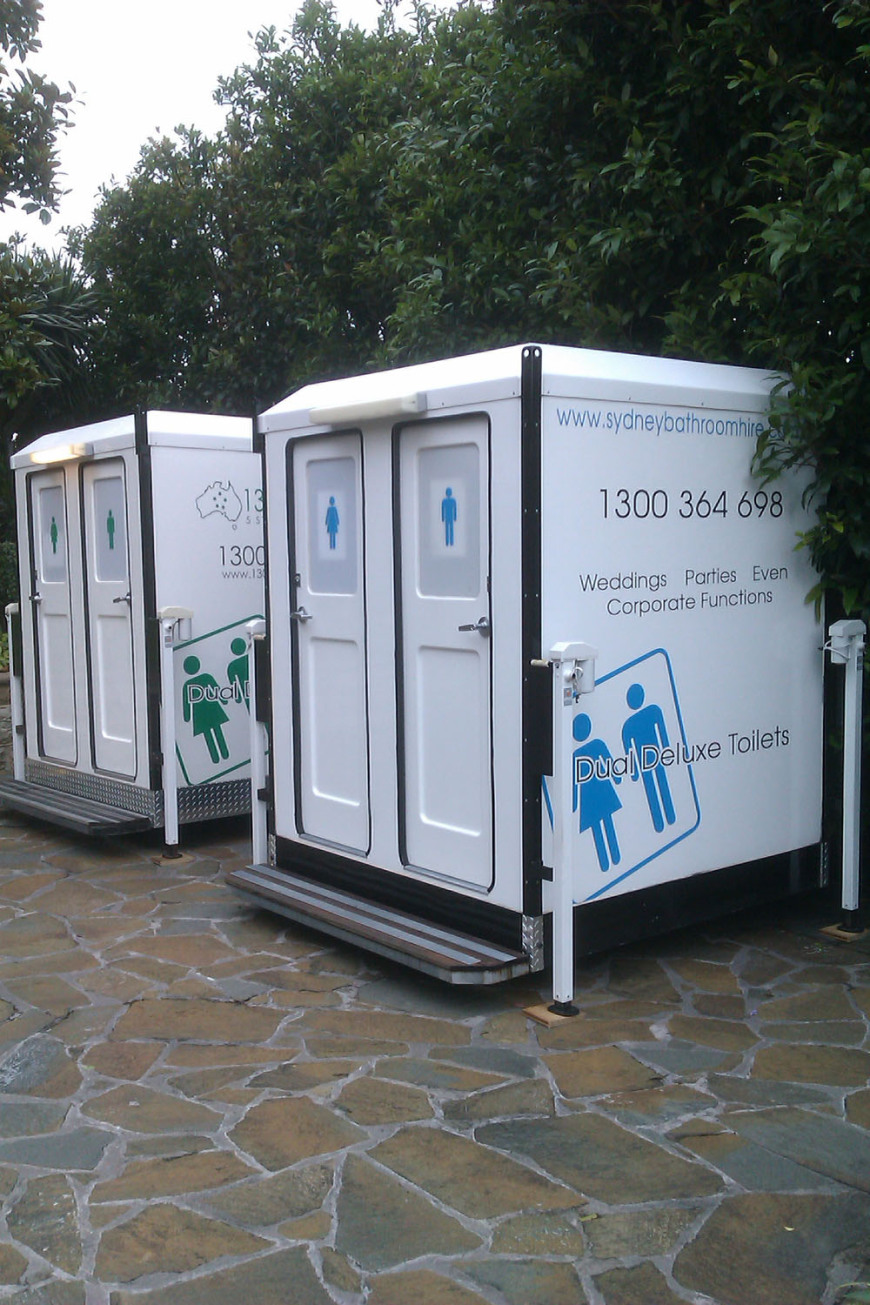 Two Dual Deluxe Toilets set up for a Party at Point Piper.