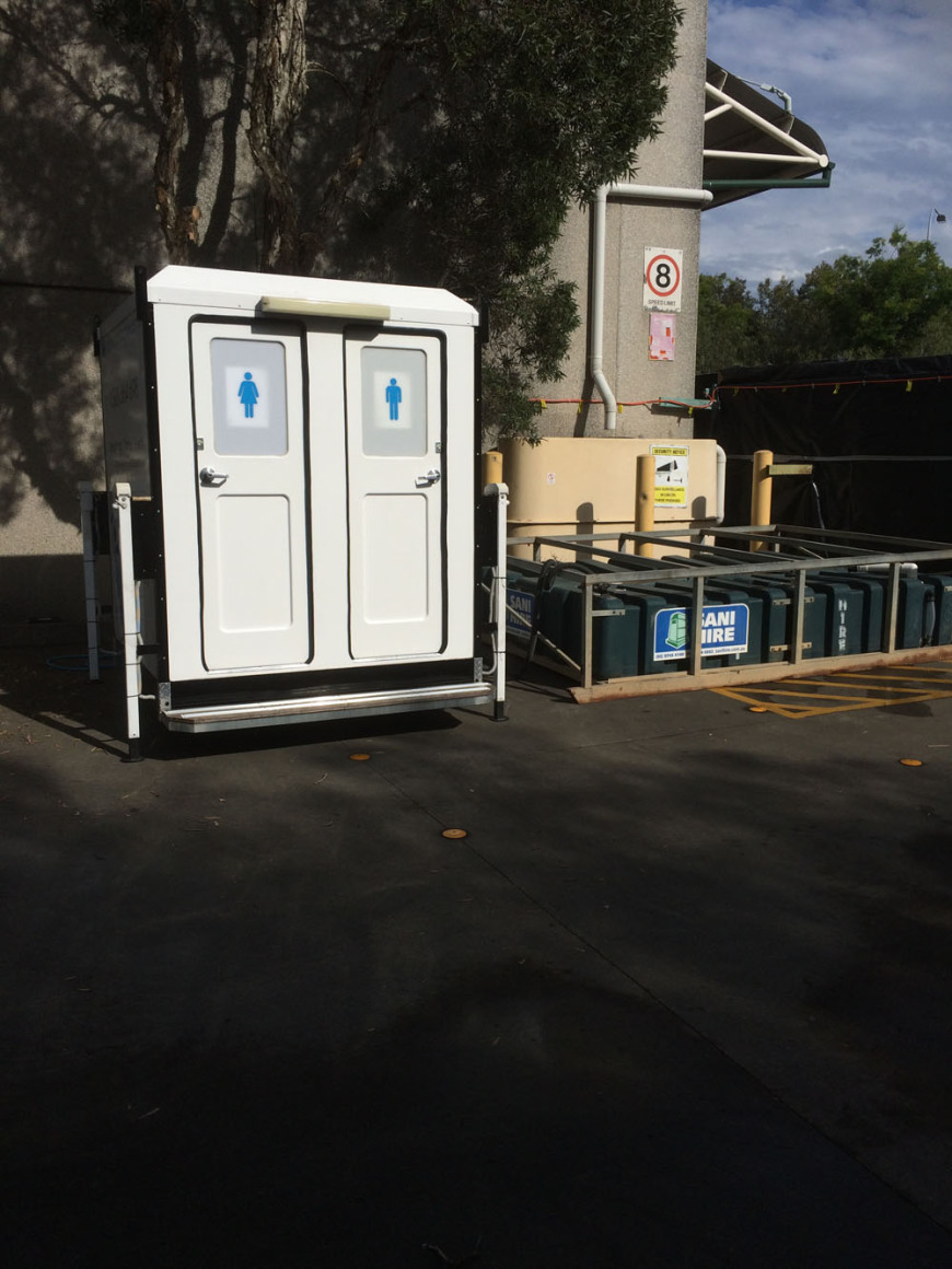 Sewer Holding Tank next to our Dual Deluxe Toilet at a Corporate Event.