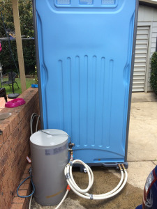 Portable shower with hot water.